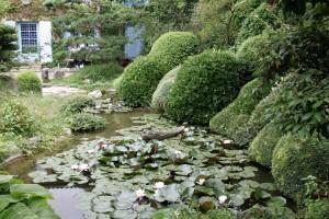 le jardin de méditation devant la maison et le petit plan d'eau