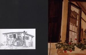 carte postale, dessin traité à l'encre de Chine, et détail de l'aquarelle