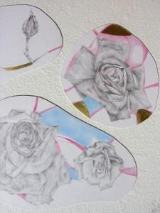 mine graphite et crayons de couleur marouflé sur papier main