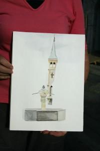l'église et la fontaine sur la place