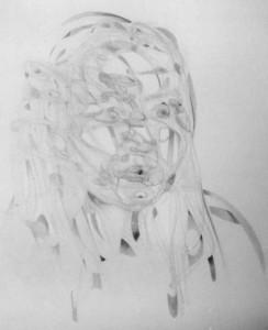 Le premier portrait prisme en 1986, mine graphite
