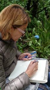 Anne dessine aux crayons de couleur