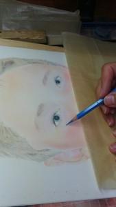 détail du travail sur le contour de l'œil