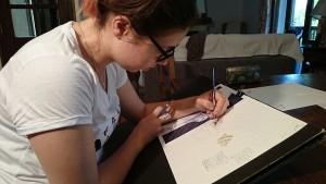 les crayons de couleurs Caran d'Ache aquarellables soft II ont été utilisés tout au long du travail
