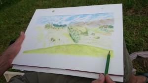 paysage aux crayons de couleurs vers la croix de Revollat