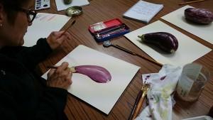 Travail sur les aubergines